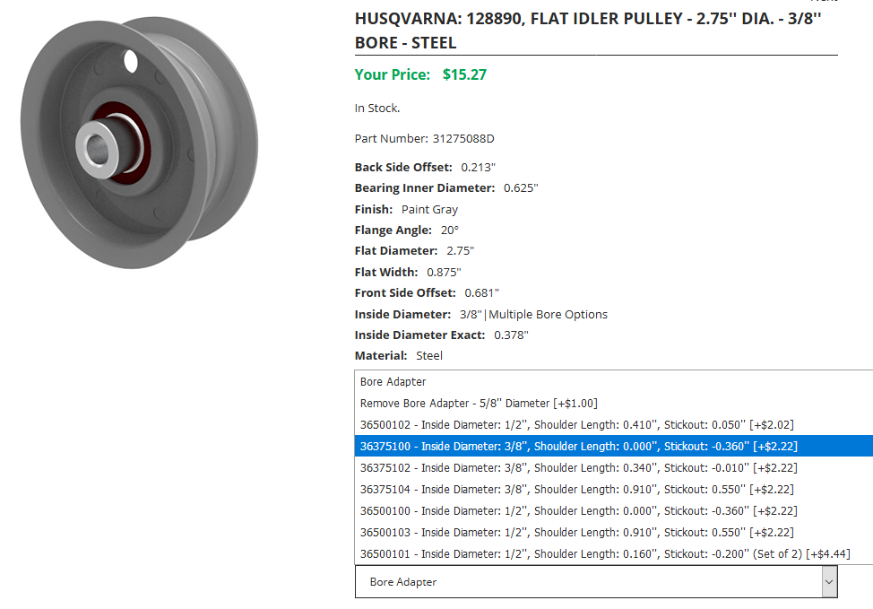 Idler Pulley with Multiple Bore Options