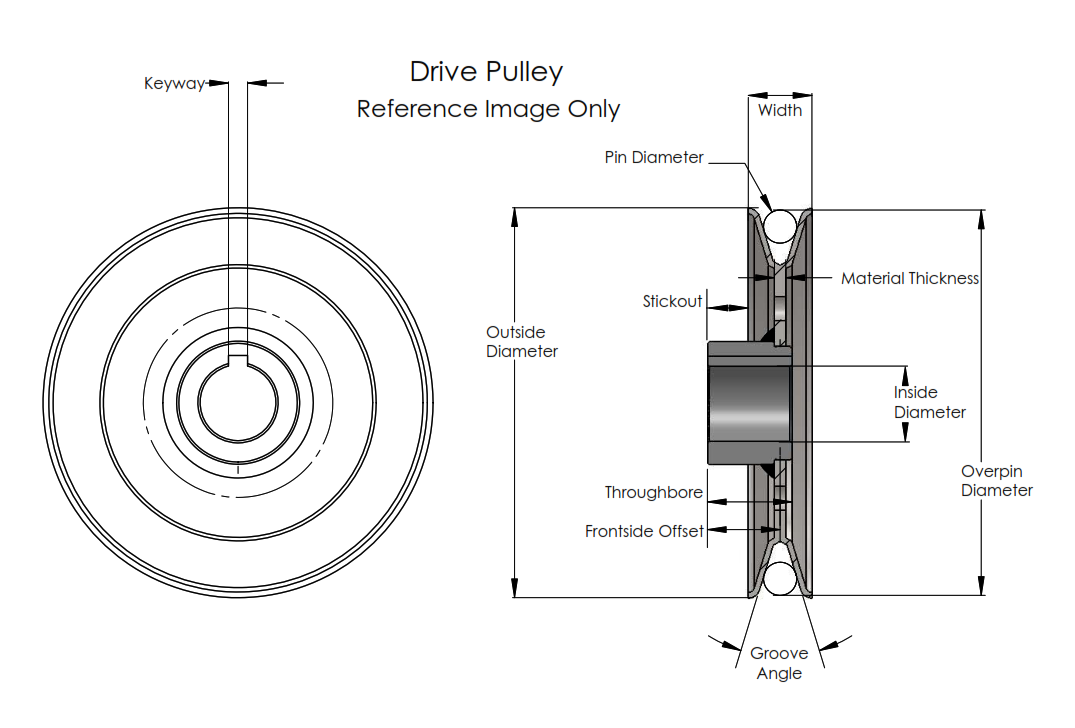 cross section of drive pulley, for reference only