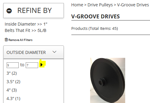 Filter your Outside Diameter for Drive Pulleys