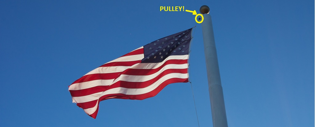 American Flag hoisted on a pole using a pulley