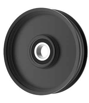 Flat Idler Pulley - 4'' Flat Dia. - 17mm Bore - Steel