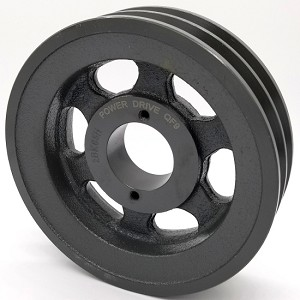 Double V-Groove Drive Pulley - 6.25'' Dia. - 1 5/8'' Bore - Cast Iron